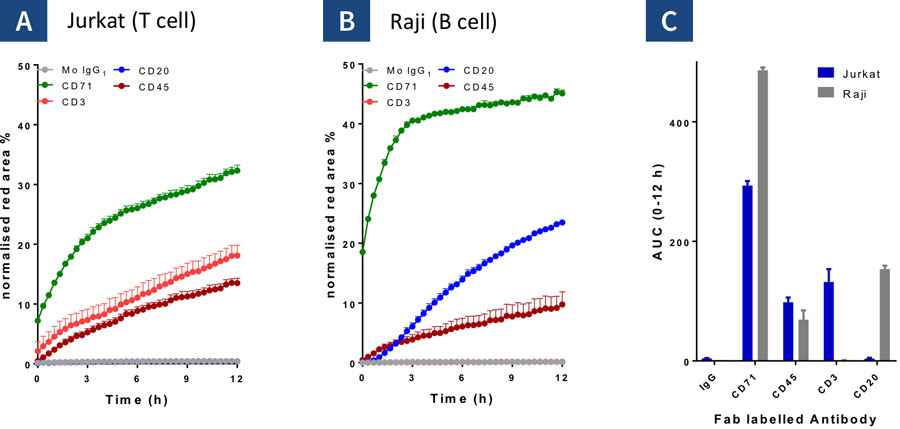 Antibody Internalization - Distinguish differences in internalization responses across multiple cell types driven by cell surface antigen expression