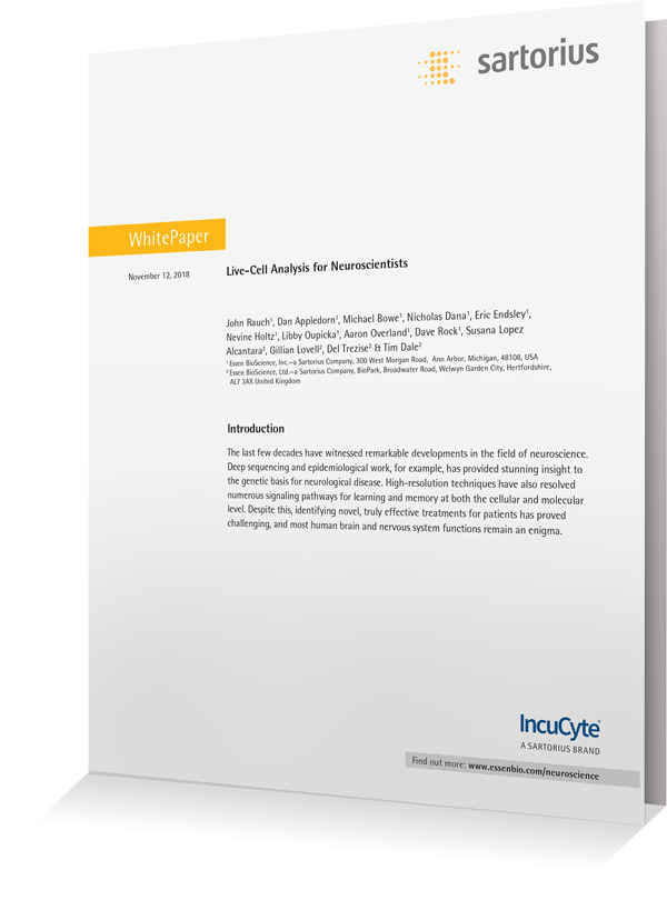 Cover White Paper: Live-Cell Analysis for Neuroscientists